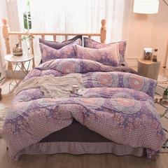 5D立体雕花绒四件套保暖冬季加厚法莱绒珊瑚绒床单被套枕套 1.2m(4英尺)床 花边天鹅