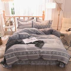 5D立体雕花绒四件套保暖冬季加厚法莱绒珊瑚绒床单被套枕套 1.8m(6英尺)床 风情摩卡-灰
