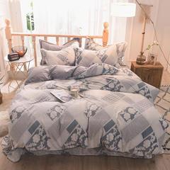 5D立体雕花绒四件套保暖冬季加厚法莱绒珊瑚绒床单被套枕套 1.5m(5英尺)床 香满园-灰