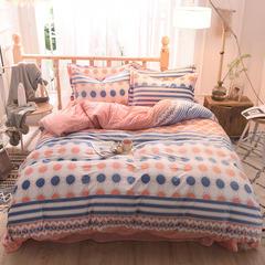 5D立体雕花绒四件套保暖冬季加厚法莱绒珊瑚绒床单被套枕套 1.2m(4英尺)床 快乐空间