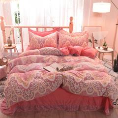 5D立体雕花绒四件套保暖冬季加厚法莱绒珊瑚绒床单被套枕套 1.35m(4.5英尺)床 浮生半日-粉