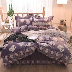 5D立体雕花绒四件套保暖冬季加厚法莱绒珊瑚绒床单被套枕套 1.2m(4英尺)床 叶之舞-紫