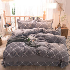 5D立体雕花绒四件套保暖冬季加厚法莱绒珊瑚绒床单被套枕套 1.35m(4.5英尺)床 大方格-灰色