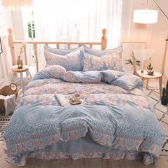 5D立体雕花绒四件套保暖冬季加厚法莱绒珊瑚绒床单被套枕套 2.0m(6.6英尺)床 花艺人生-蓝