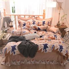 5D立体雕花绒四件套保暖冬季加厚法莱绒珊瑚绒床单被套枕套 1.2m(4英尺)床 青春涂鸦