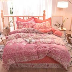 5D立体雕花绒四件套保暖冬季加厚法莱绒珊瑚绒床单被套枕套 1.2m(4英尺)床 花艺人生-粉