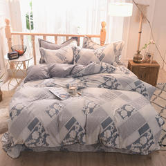 5D立体雕花绒四件套保暖冬季加厚法莱绒珊瑚绒床单被套枕套 1.2m(4英尺)床 香满园-灰