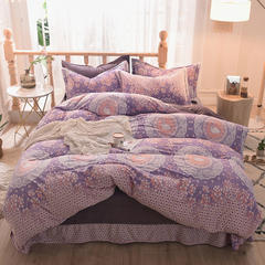 5D立体雕花绒四件套保暖冬季加厚法莱绒珊瑚绒床单被套枕套 2.0m(6.6英尺)床 花边天鹅