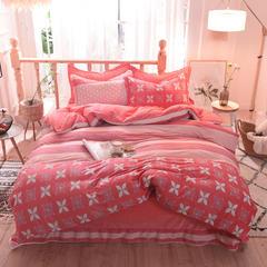 5D立体雕花绒四件套保暖冬季加厚法莱绒珊瑚绒床单被套枕套 2.0m(6.6英尺)床 一往情深