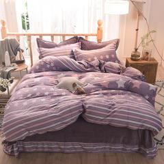 5D立体雕花绒四件套保暖冬季加厚法莱绒珊瑚绒床单被套枕套 1.2m(4英尺)床 魅力星光-紫豆沙