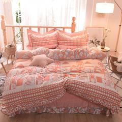 5D立体雕花绒四件套保暖冬季加厚法莱绒珊瑚绒床单被套枕套 1.2m(4英尺)床 都市节拍