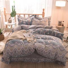 5D立体雕花绒四件套保暖冬季加厚法莱绒珊瑚绒床单被套枕套 1.2m(4英尺)床 语寐-灰