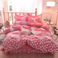 5D立体雕花绒四件套保暖冬季加厚法莱绒珊瑚绒床单被套枕套 1.8m(6英尺)床 可爱kt