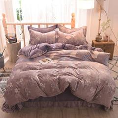 5D立体雕花绒四件套保暖冬季加厚法莱绒珊瑚绒床单被套枕套 1.2m(4英尺)床 一叶知秋