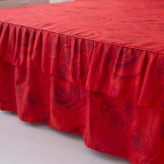 活性磨毛床裙四件套植物羊绒加厚亲肤四季通用1.8m床上用品 1.5m(5英尺)床 玫瑰情缘