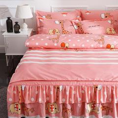 活性磨毛床裙四件套植物羊绒加厚亲肤四季通用1.8m床上用品 2.0m(6.6英尺)床 好朋友