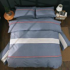 2018纯棉活性磨毛四件套舒适柔软透气床单被套枕套 1.5m(5英尺)床 布鲁斯-灰