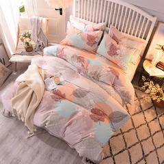 2018纯棉活性磨毛四件套舒适柔软透气床单被套枕套 1.8m(6英尺)床 婉居倾心