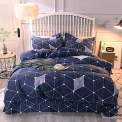 2018纯棉活性磨毛四件套舒适柔软透气床单被套枕套 1.8m(6英尺)床 格调情缘-蓝