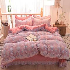 5D立体雕花绒四件套保暖冬季加厚法莱绒珊瑚绒床单被套枕套 1-1.2m床(被套1.6*2.1m) 香格里拉-紫玉