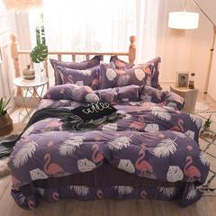5D立体雕花绒四件套保暖冬季加厚法莱绒珊瑚绒床单被套枕套 1-1.2m床(被套1.6*2.1m) 火烈鸟-紫