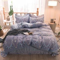 5D立体雕花绒四件套保暖冬季加厚法莱绒珊瑚绒床单被套枕套 1-1.2m床(被套1.6*2.1m) 时尚亮点