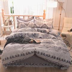 5D立体雕花绒四件套保暖冬季加厚法莱绒珊瑚绒床单被套枕套 1-1.2m床(被套1.6*2.1m) 玫瑰情缘