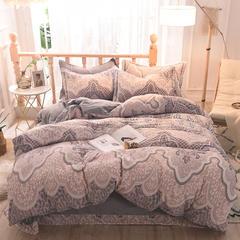 5D立体雕花绒四件套保暖冬季加厚法莱绒珊瑚绒床单被套枕套 1-1.2m床(被套1.6*2.1m) 浮生半日-灰