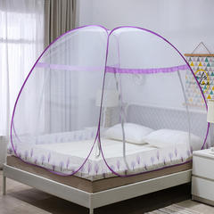 免安装蚊帐新款加密蒙古包双开门1.35/1.5/1.8米防蚊 1.0m(3.3英尺)床 发财树-紫(第二套图)