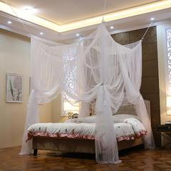 蚊帐定制定做特殊尺寸蚊帐榻榻米架子床圆床落地加密四柱床款 其它 素白-吸盘款