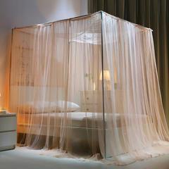 蚊帐定制定做特殊尺寸蚊帐榻榻米架子床圆床落地加密四柱床款 其它 粉玉-支架款