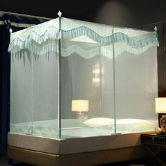 蚊帐三开门坐床拉链1.2/1.8防蚊方顶蒙古包加厚支架防摔 1.2m(4英尺)床 米黄