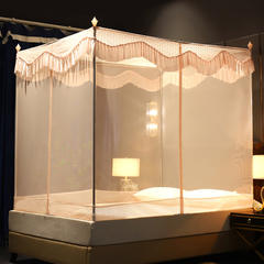 蚊帐三开门坐床拉链1.2/1.8防蚊方顶蒙古包加厚支架防摔 1.5m(5英尺)床 玉色