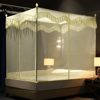 蚊帐三开门坐床拉链1.2/1.8防蚊方顶蒙古包加厚支架防摔 1.2m(4英尺)床 黄色