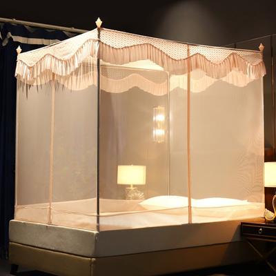 蚊帐三开门坐床拉链1.2/1.8防蚊方顶蒙古包加厚支架防摔 1.2m(4英尺)床 玉色