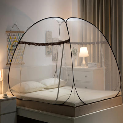 蒙古包加密蚊帐免安装加高钢丝折叠圆顶坐床式拉链U型双门不生锈 1.2m(4英尺)床 星月双开-咖色(第二套图)