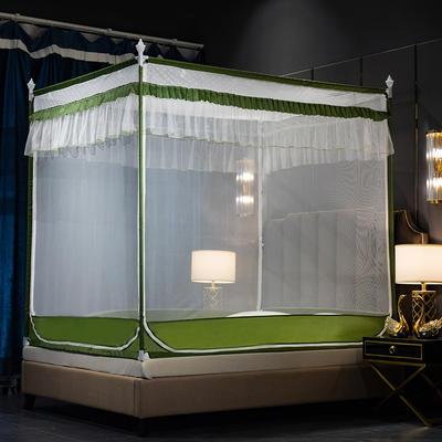 蚊帐三开门坐床式拉链11.5/1.8/2m公主风双人家用防蚊 1.2m(4英尺)床 抹茶绿