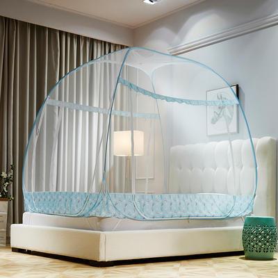 可折叠蒙古包免安装蚊帐拉链方顶三开门加密1.5米1.8m床双人家用 1.5m(5英尺)床 love熊-粉