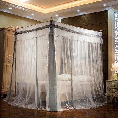 蚊帐三开门1.8m床双人家用1.5m床宫廷公主风落地加密 1.2m(4英尺)床 天蓝