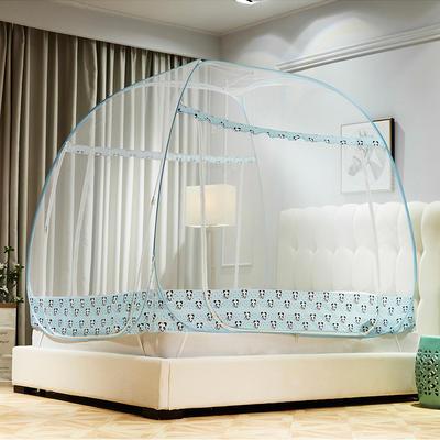可折叠蒙古包免安装蚊帐拉链方顶三开门加密1.5米1.8m床双人家用 1.5m(5英尺)床 纸飞机-粉