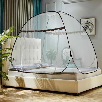 蒙古包蚊帐免安装加高钢丝折叠圆顶坐床式拉链U型门1.5m/1.8米床 1.0m(3.3英尺)床 蓝色(含1元风扇杆)