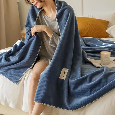 2021新款A类年牛奶绒双层复合毯华夫格毛毯休闲毯绒毯 100*150cm 都市蓝