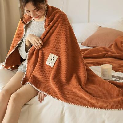 2021新款A类年牛奶绒双层复合毯华夫格毛毯休闲毯绒毯 100*150cm 焦糖