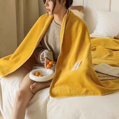 2021新款A类年牛奶绒双层复合毯华夫格毛毯休闲毯绒毯 100*150cm 明黄