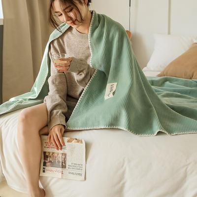 2021新款A类年牛奶绒双层复合毯华夫格毛毯休闲毯绒毯 100*150cm 苹果绿