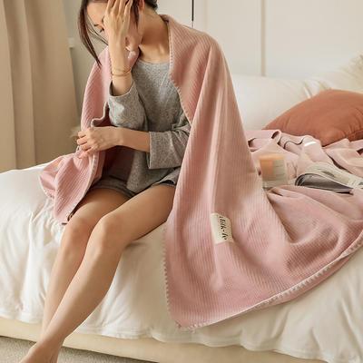 2021新款A类年牛奶绒双层复合毯华夫格毛毯休闲毯绒毯 100*150cm 玉粉