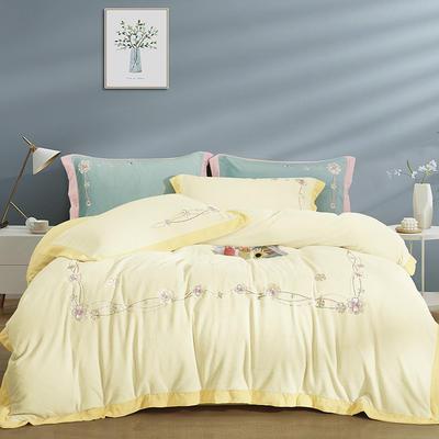 2021新款牛奶棉系列四件套伊甸花海 1.5m床单款四件套 绿粉