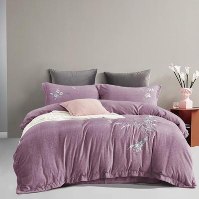2021新款肌理绣花牛奶绒四件套 1.5m床单款四件套 春风留香-粉紫