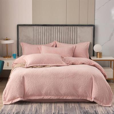2021新款7D雕花牛奶绒四件套-树叶雕花绒 1.5m床单款四件套 粉色