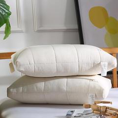 元元枕芯 2018款全棉超柔枕芯-亲肤面料 超细羽丝棉填充定型枕芯 全棉高弹枕